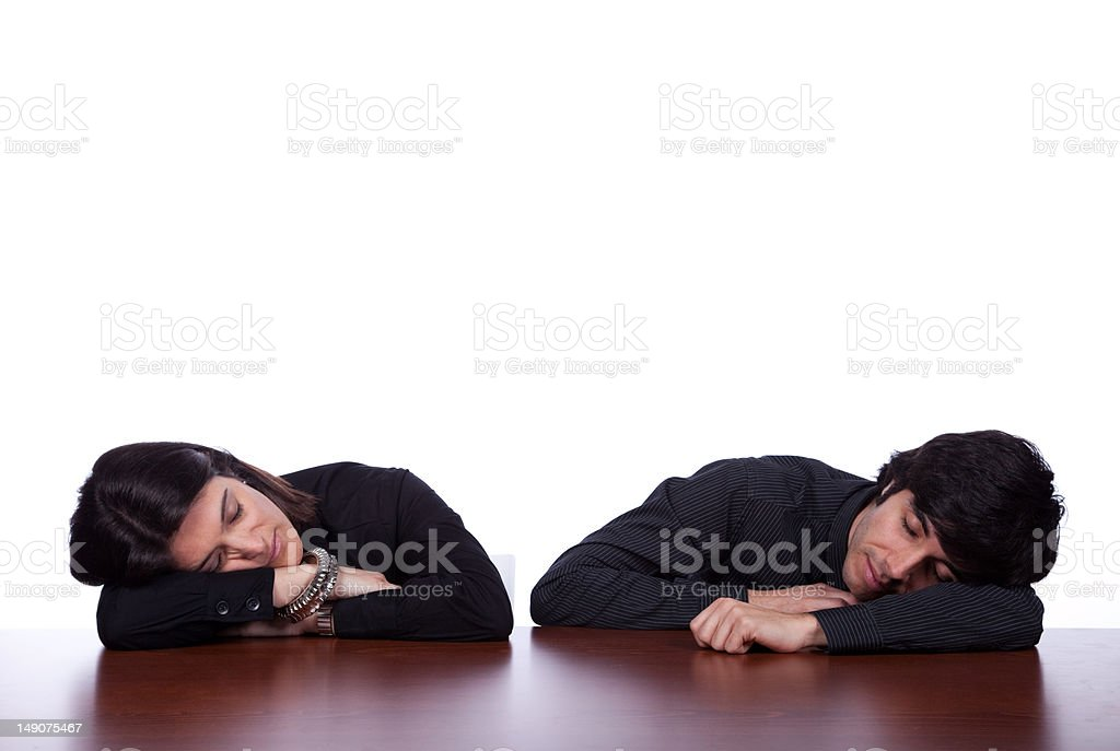 Team sleeping at the office stock photo
