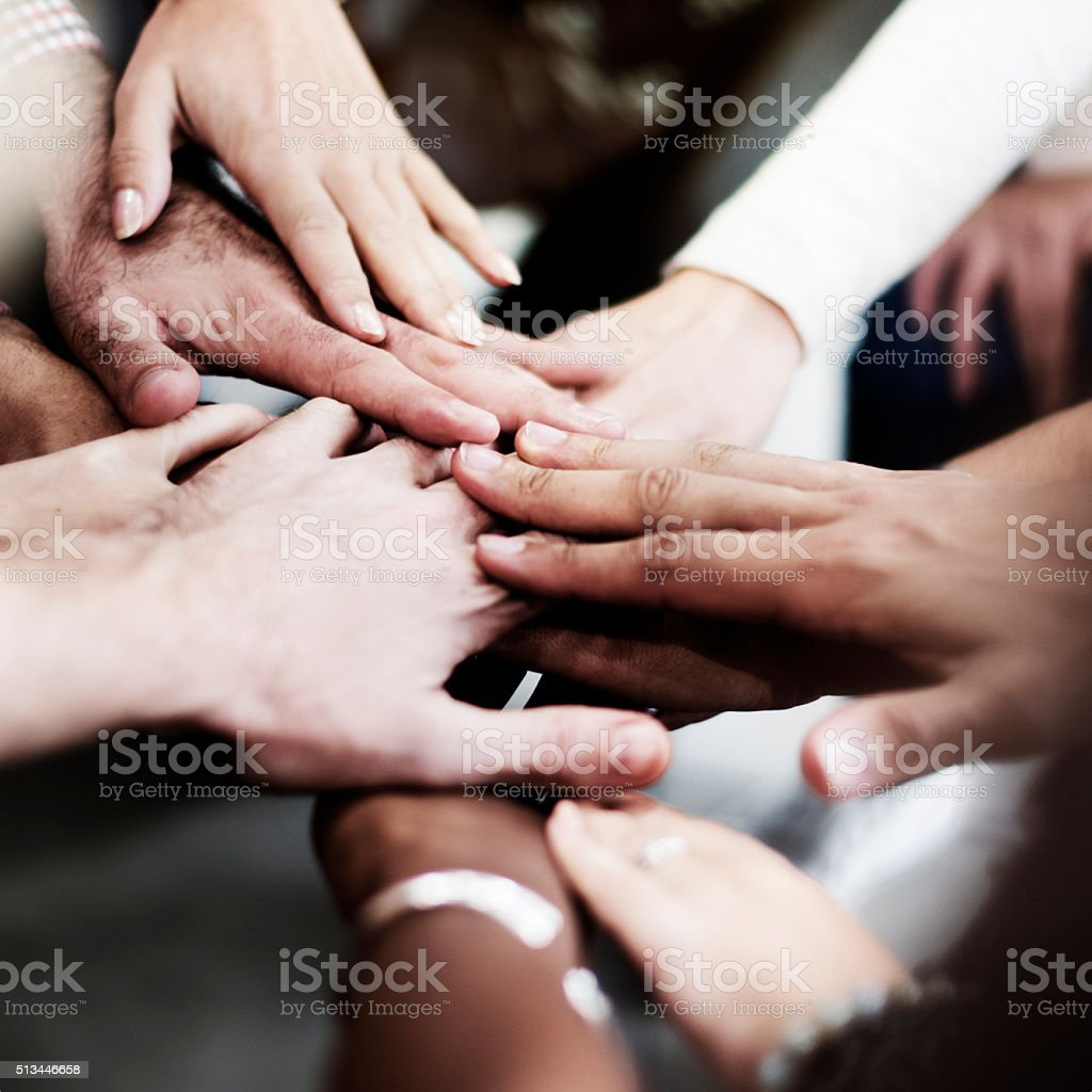Team Teamwork Join Hands Partnership Concept stock photo