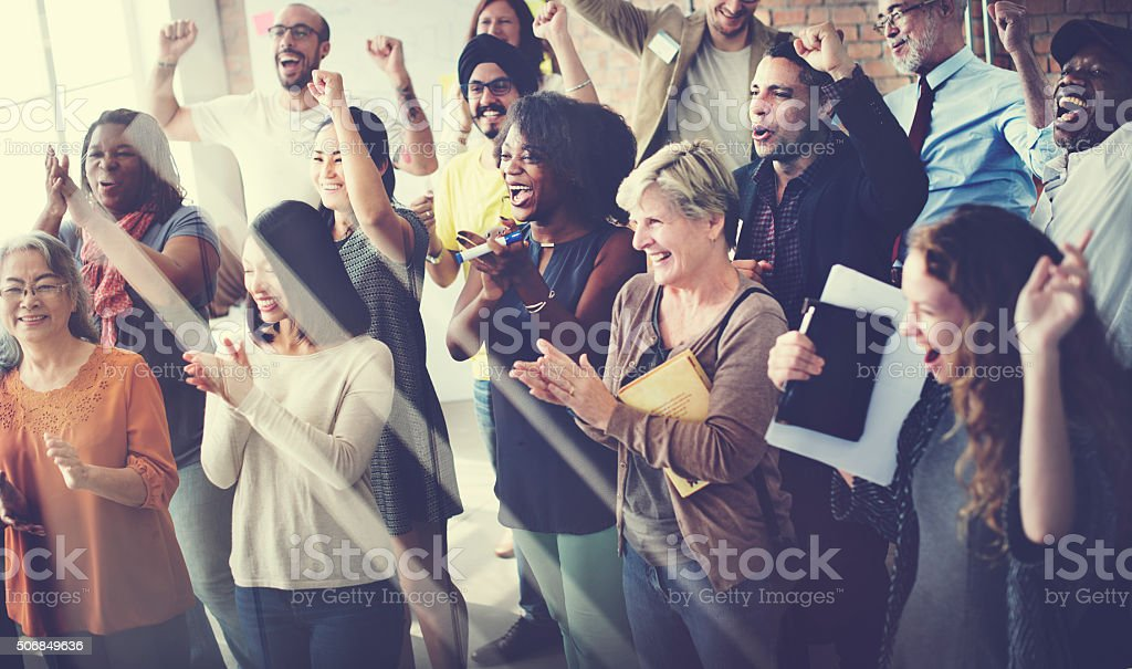 Team Teamwork Meeting Success Happiness Concept stock photo