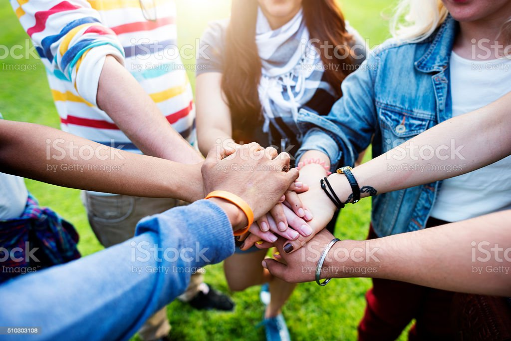 Team Teamwork Relation Together Unity Friendship Concept stock photo