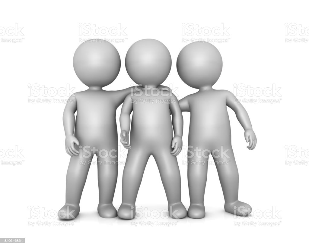 Team teamwork team spirit colleagues mates and friends funny guys and buddies isolated on white stock photo