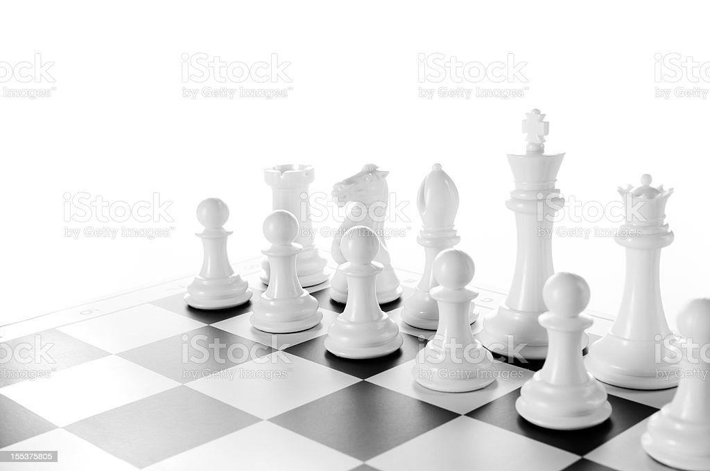 Team, White Chess pieces on chess board, black and white stock photo