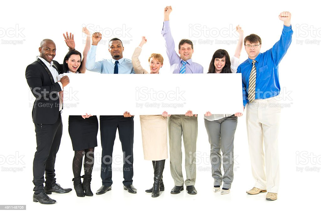Team with a Blank Board stock photo