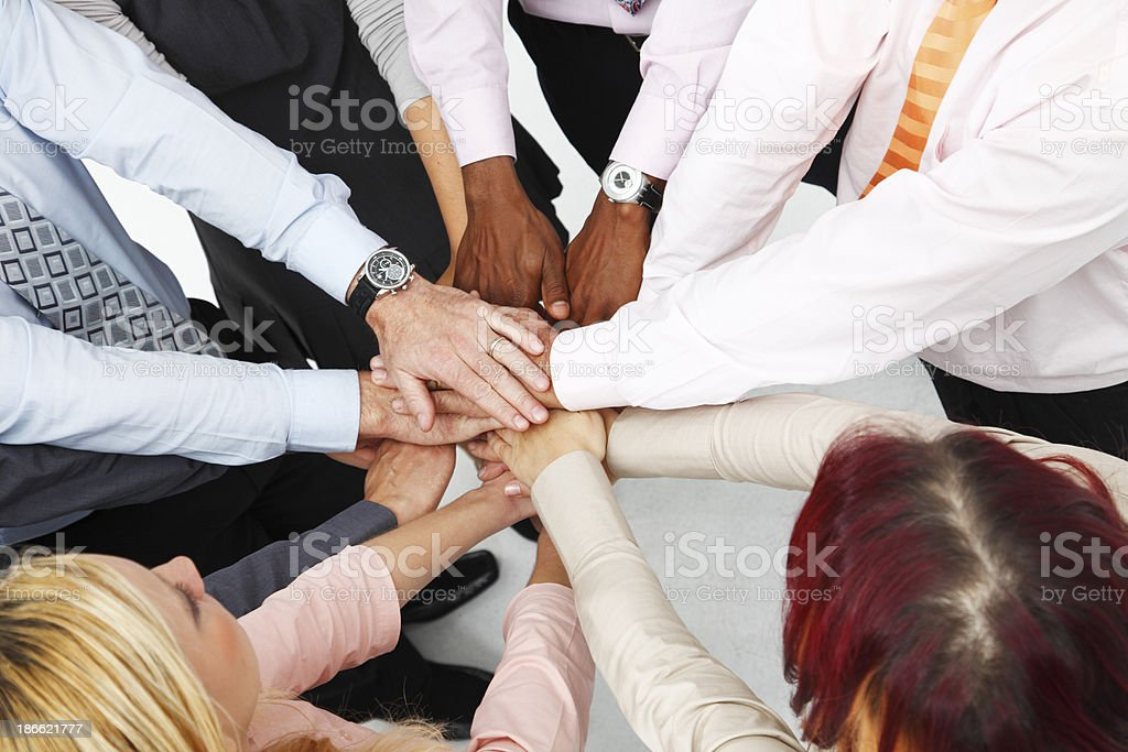 Team work - a lot of hands stock photo