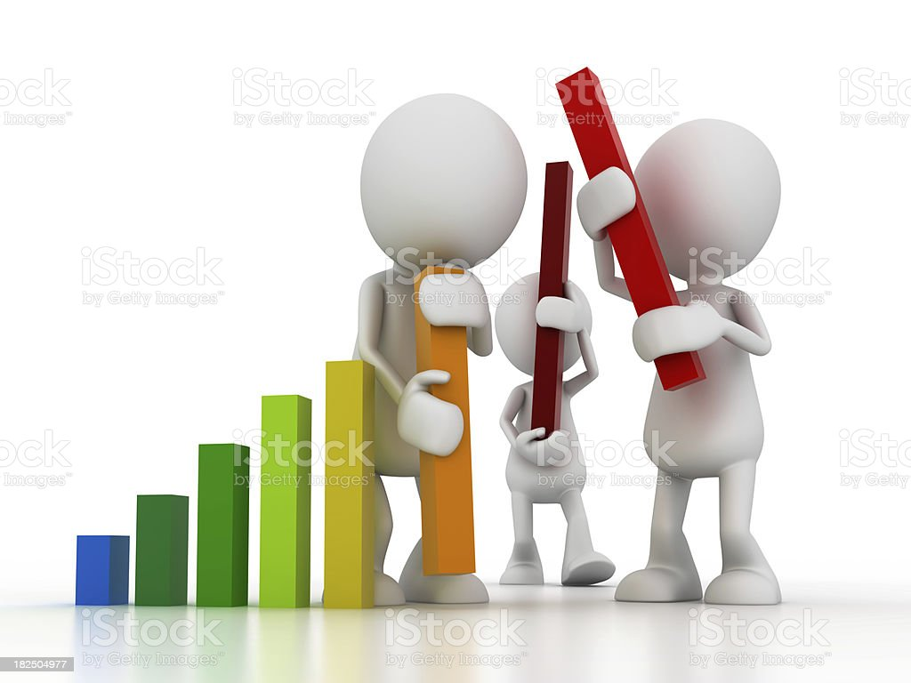 Team work building a graph royalty-free stock photo