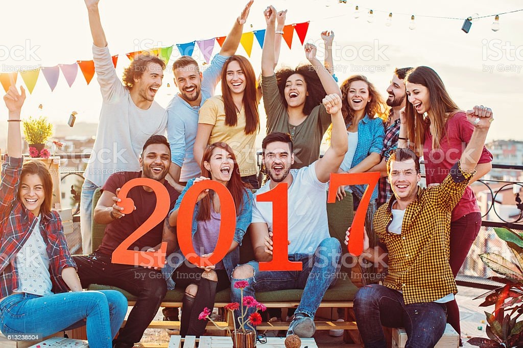Teamed up for the new year stock photo