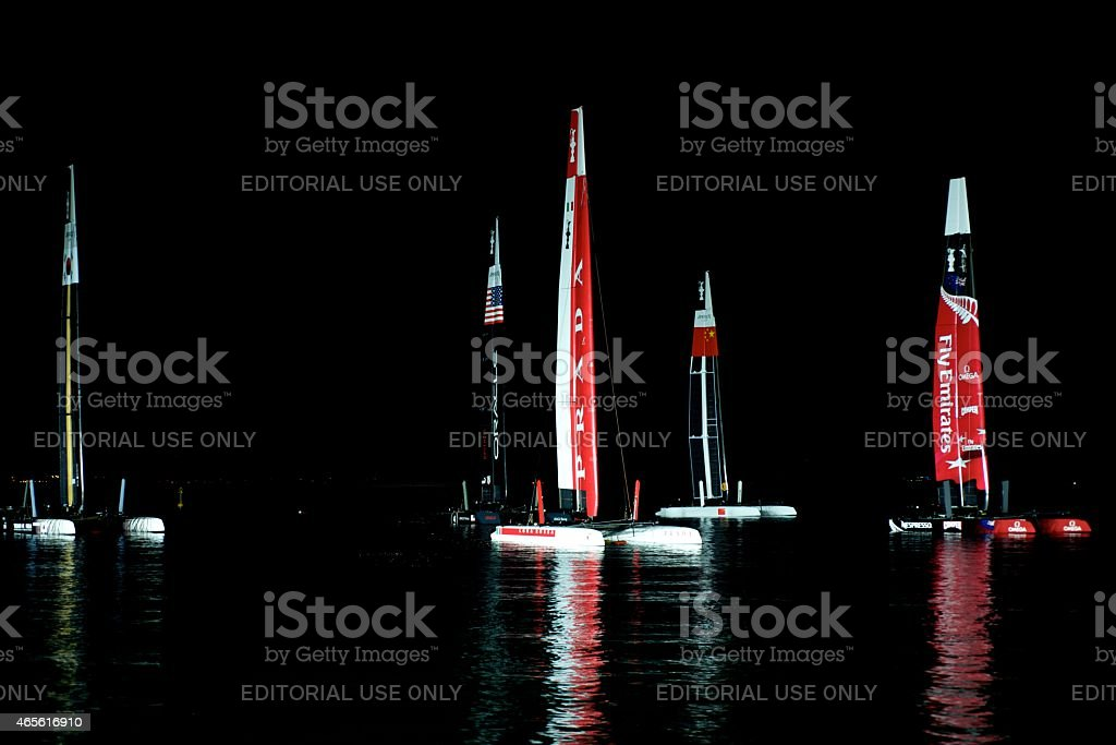 Teams 45 foot America's Cup Catamaran stock photo