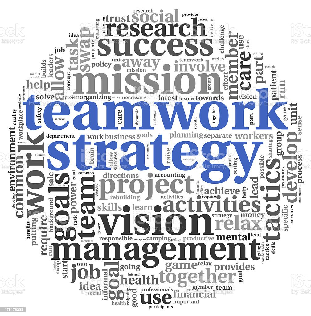 Teamword strategy concept in word tag cloud stock photo
