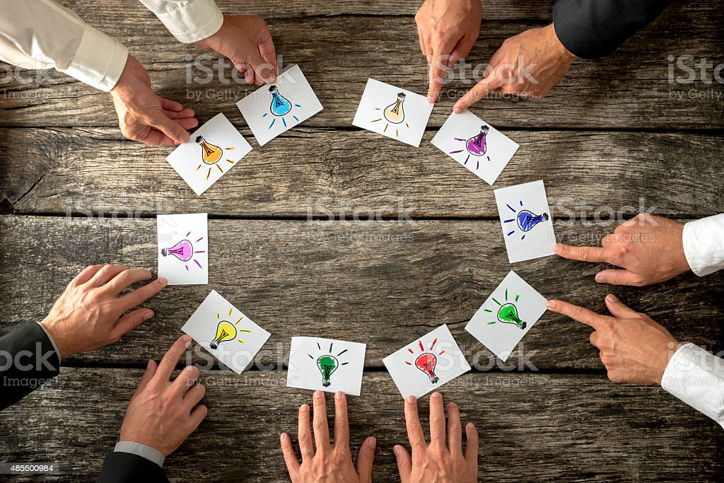 Teamwork and brainstorming concept stock photo