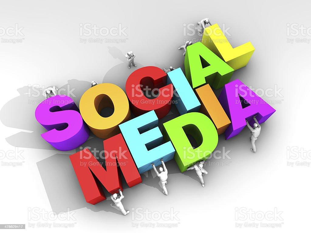 Teamwork and Social Media stock photo
