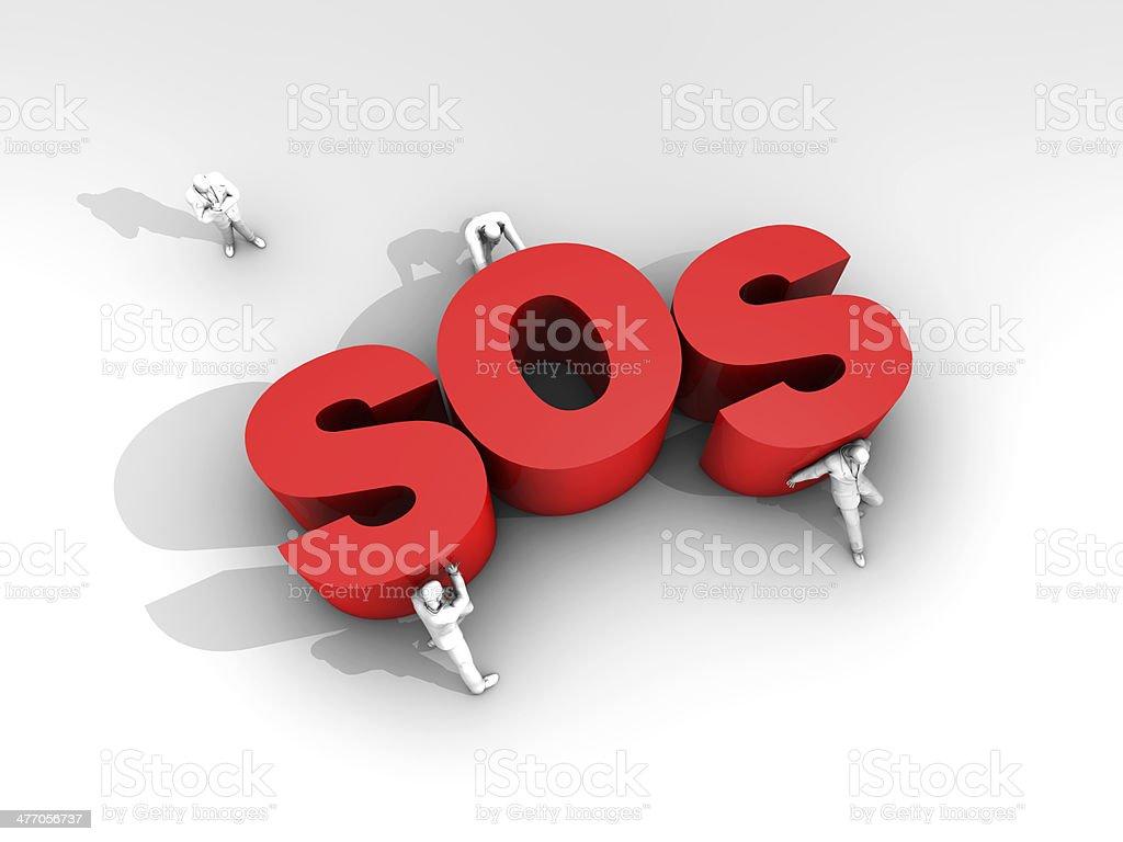 Teamwork and SOS Call stock photo