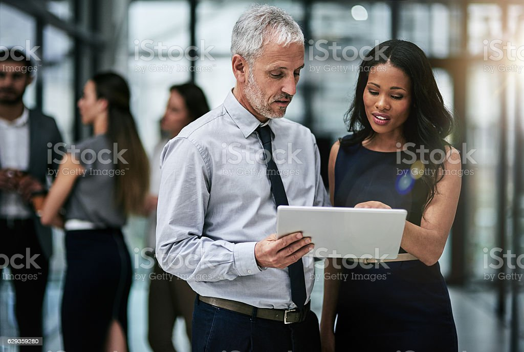 Teamwork and technology, indispensable tools for corporate productivity stock photo