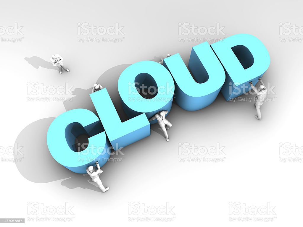 Teamwork and Word Cloud stock photo