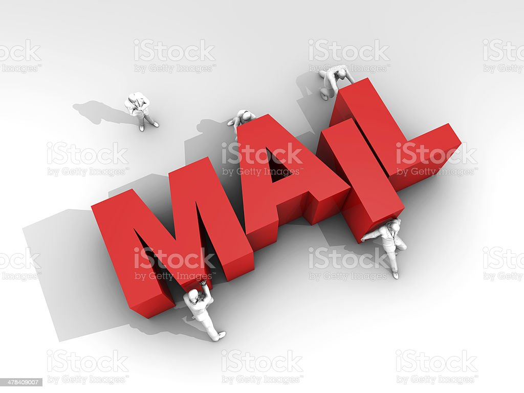 Teamwork and Word Mail stock photo