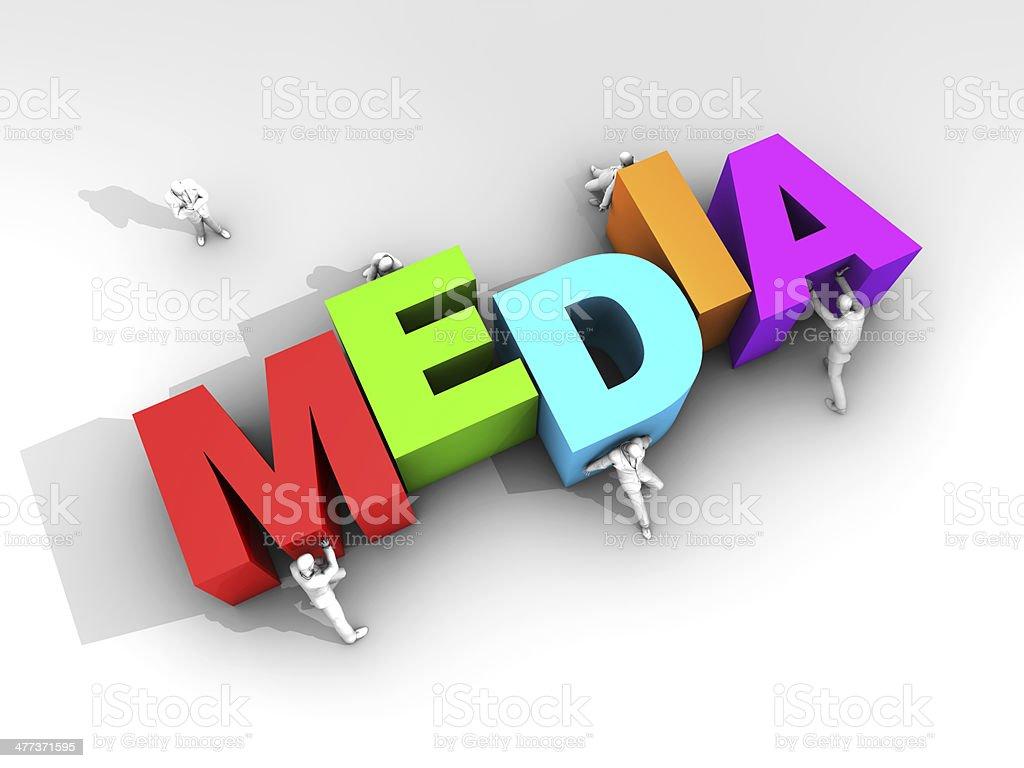 Teamwork and Word Media stock photo