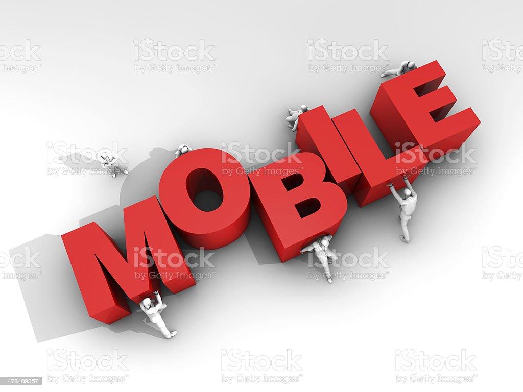 Teamwork and Word Mobile stock photo