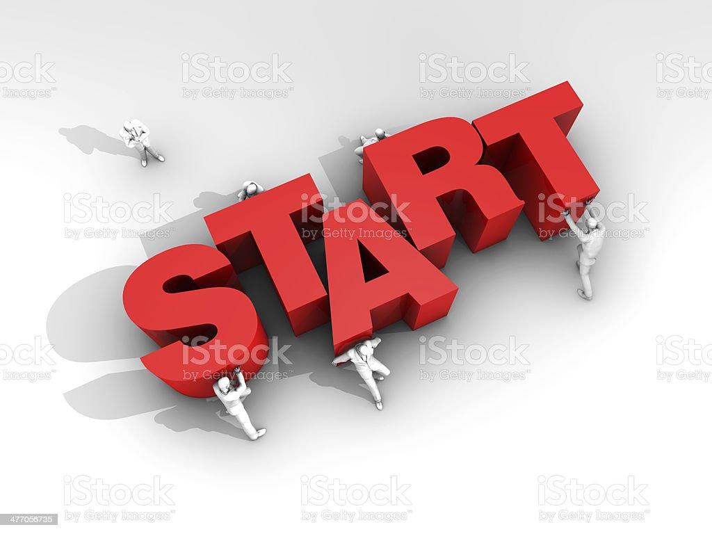 Teamwork and Word Start stock photo
