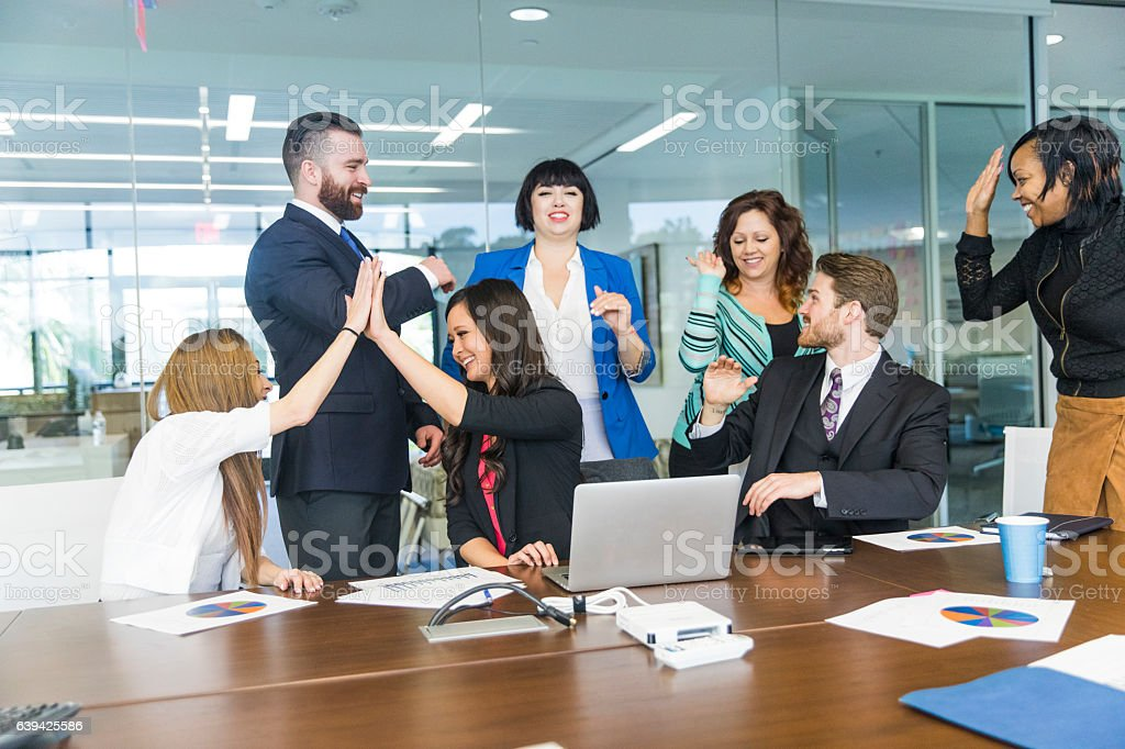 Teamwork at a Staff Meeting stock photo