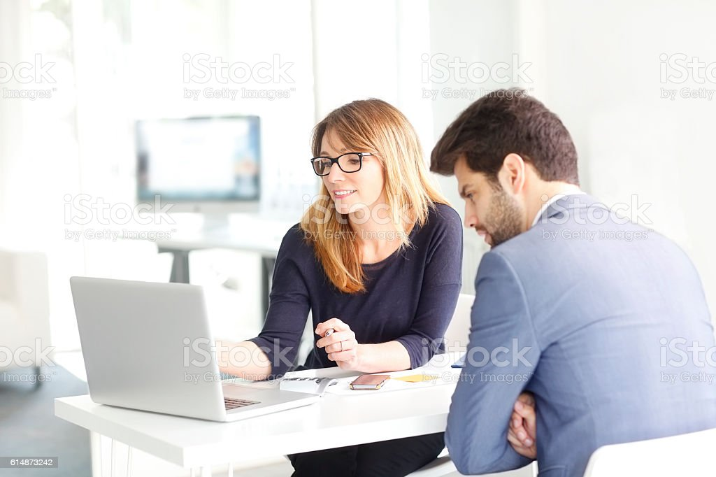 Teamwork at office stock photo