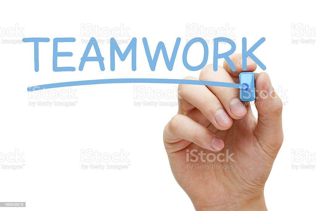 Teamwork Blue Marker royalty-free stock photo