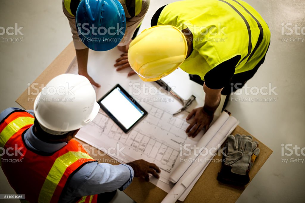 Teamwork building construction stock photo