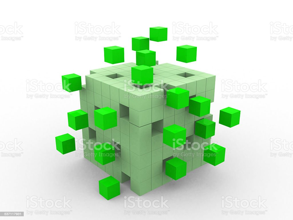 teamwork business concept with green cubes. stock photo