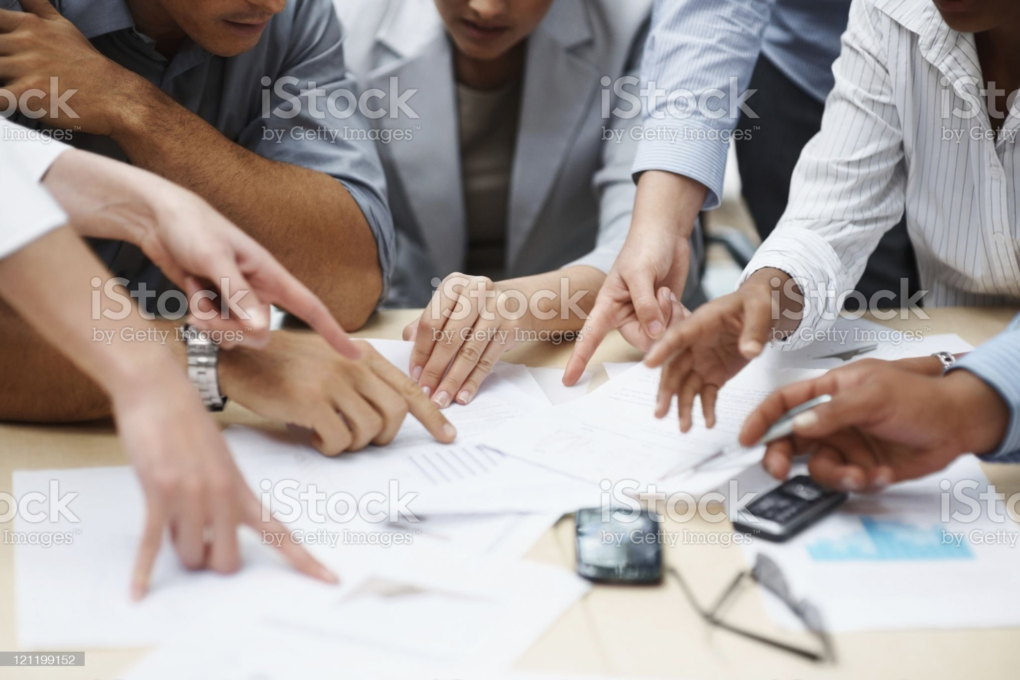 Teamwork - Business hands working with documents royalty-free stock photo