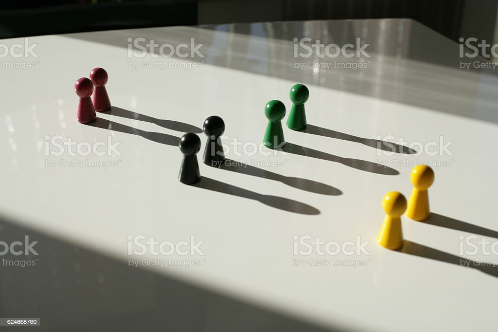 Teamwork by group of two stock photo