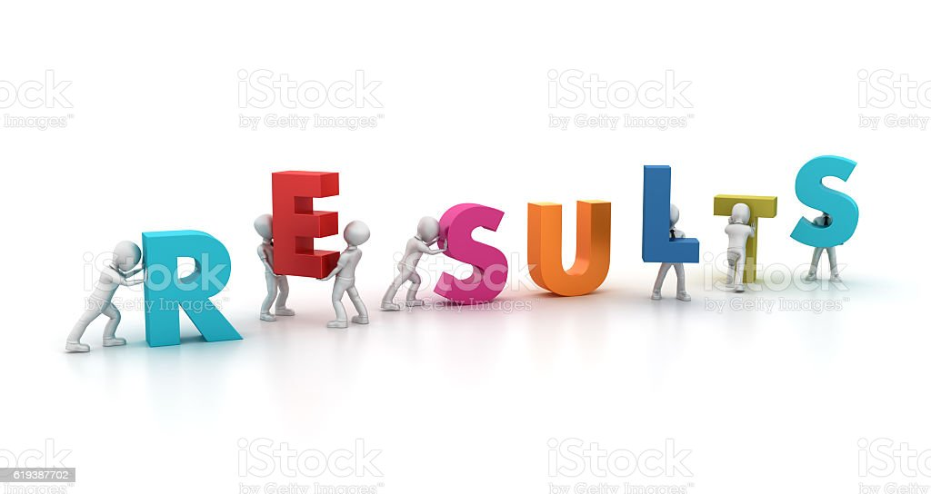 Teamwork Characters Building the RESULTS Word stock photo