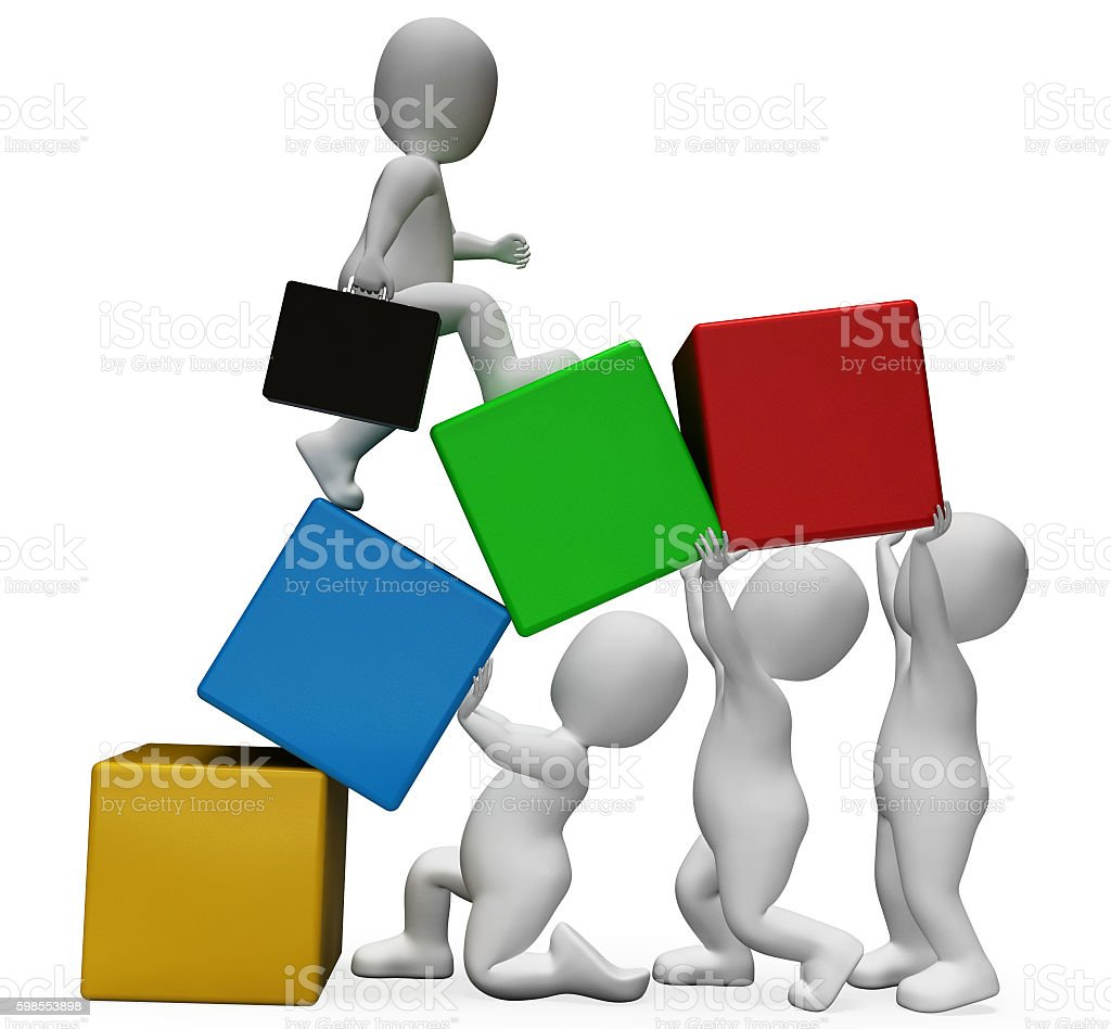 Teamwork Characters Represents Business Person And Advance 3d Re stock photo