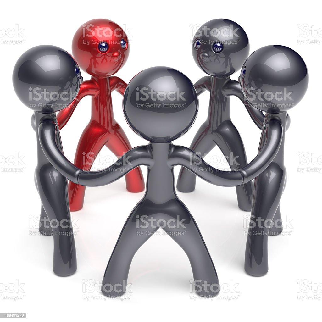 Teamwork circle people social network individuality character stock photo