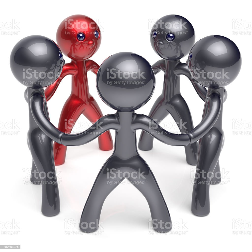 Teamwork circle people social network individuality character stock photo