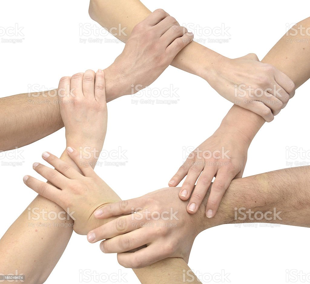 Teamwork circle with hands stock photo