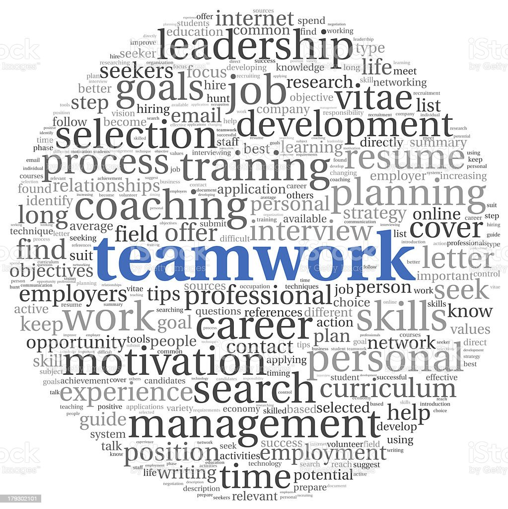 Teamwork concept in word tag cloud royalty-free stock vector art