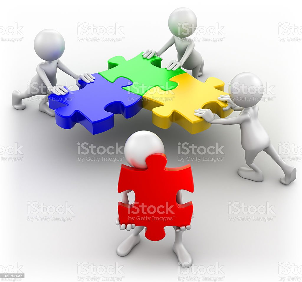 Teamwork concept, isolated with clipping path royalty-free stock photo