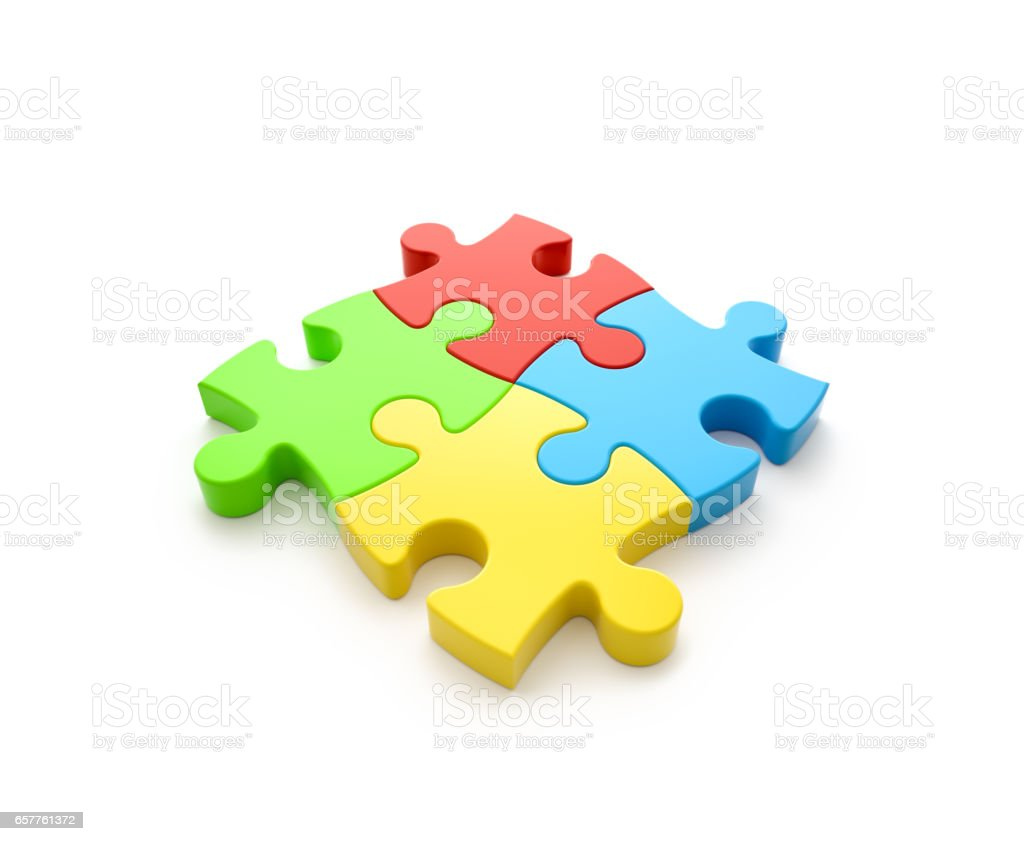 Teamwork concept , jigsaw puzzle , isolated stock photo