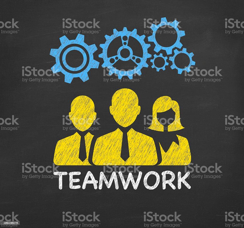 Teamwork Concept on Blackboard stock photo