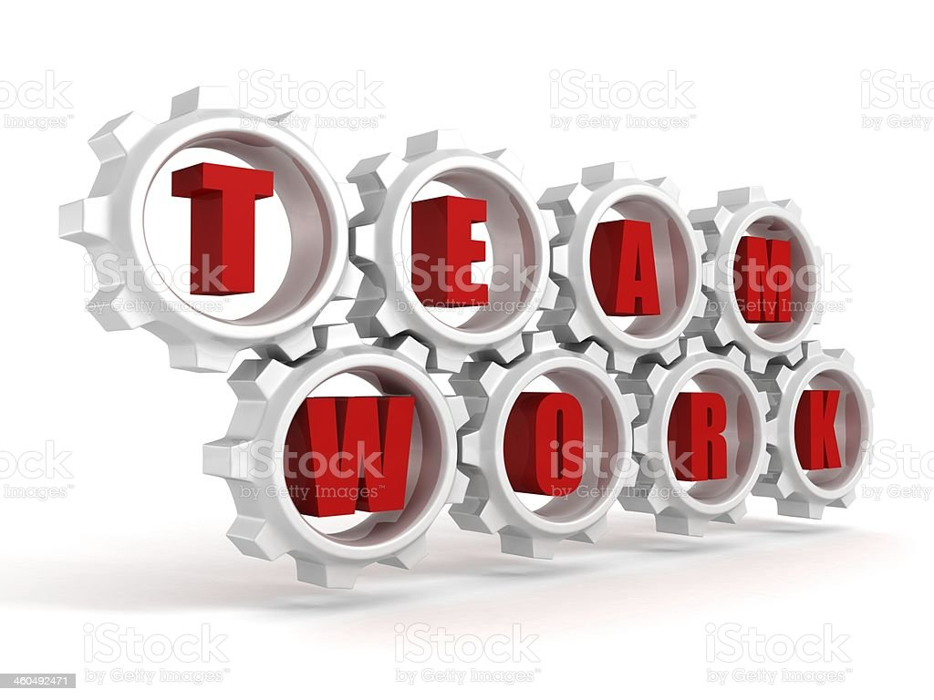 teamwork concept text letters connected gears wheels stock photo