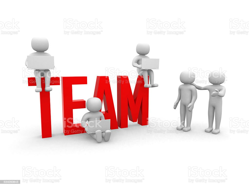 Teamwork. Conceptual business illustration. White background. stock photo
