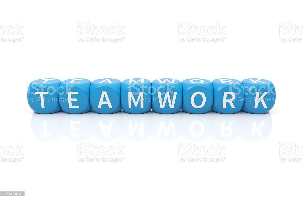 Teamwork dices blue stock photo
