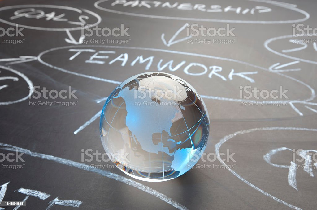 Teamwork flowchart on a chalk board royalty-free stock photo