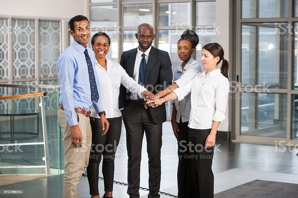 Teamwork from a group of business people stock photo