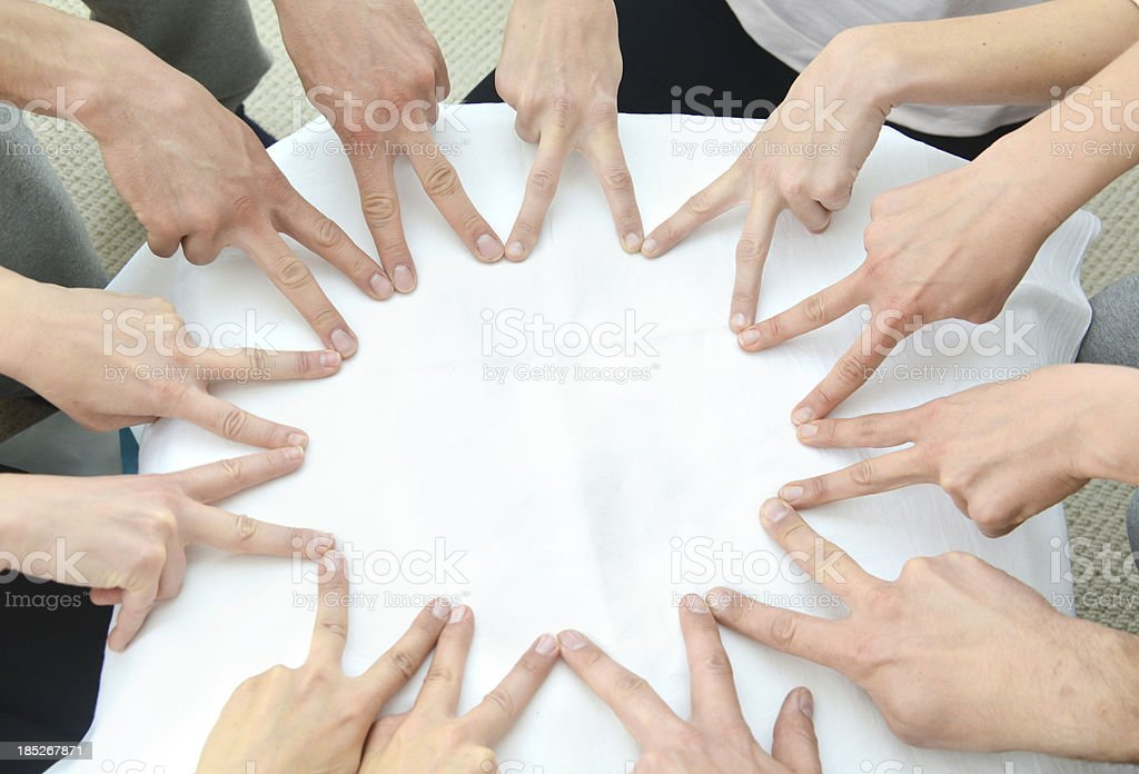 teamwork hands forming bg star with fingers Gruppe Finger Sternformation stock photo