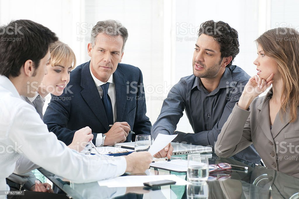 Teamwork in a business meeting stock photo