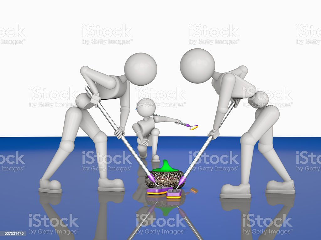 teamwork in curlers stock photo