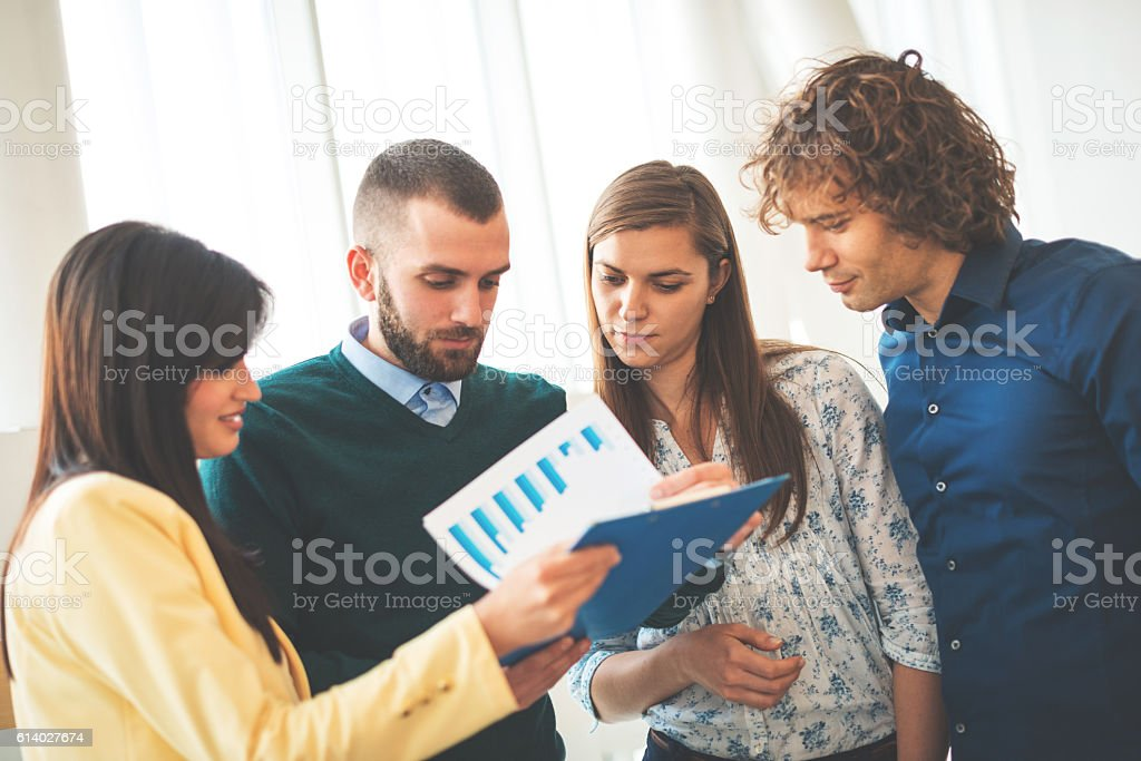 Teamwork in financial institution stock photo