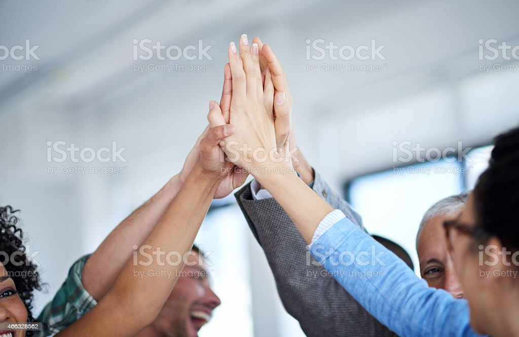 Teamwork made the dream work stock photo