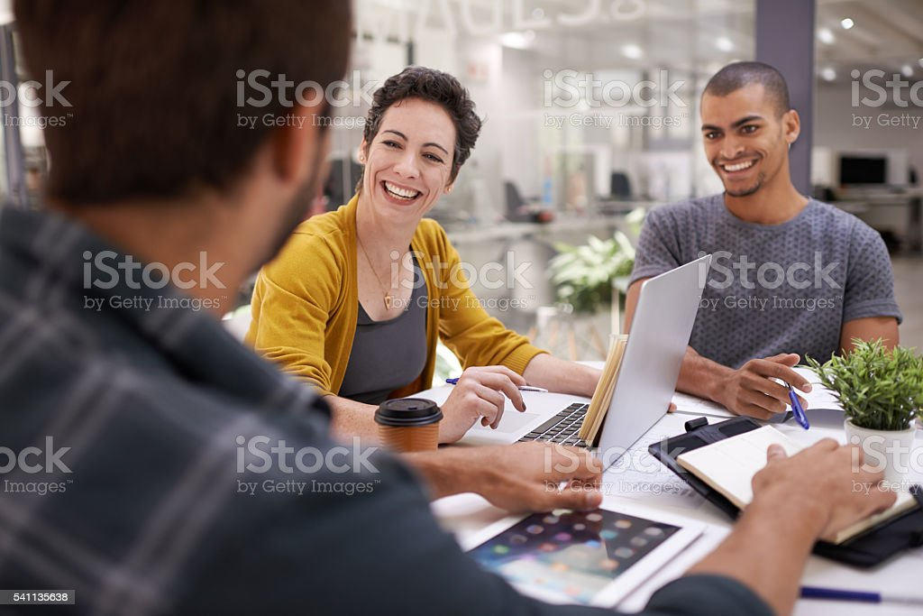 Teamwork makes great work stock photo