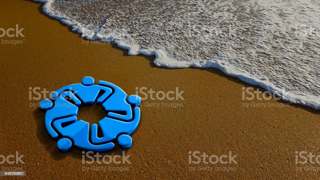 Teamwork Meeting at the Beach. 3D Rendering Illustration stock photo