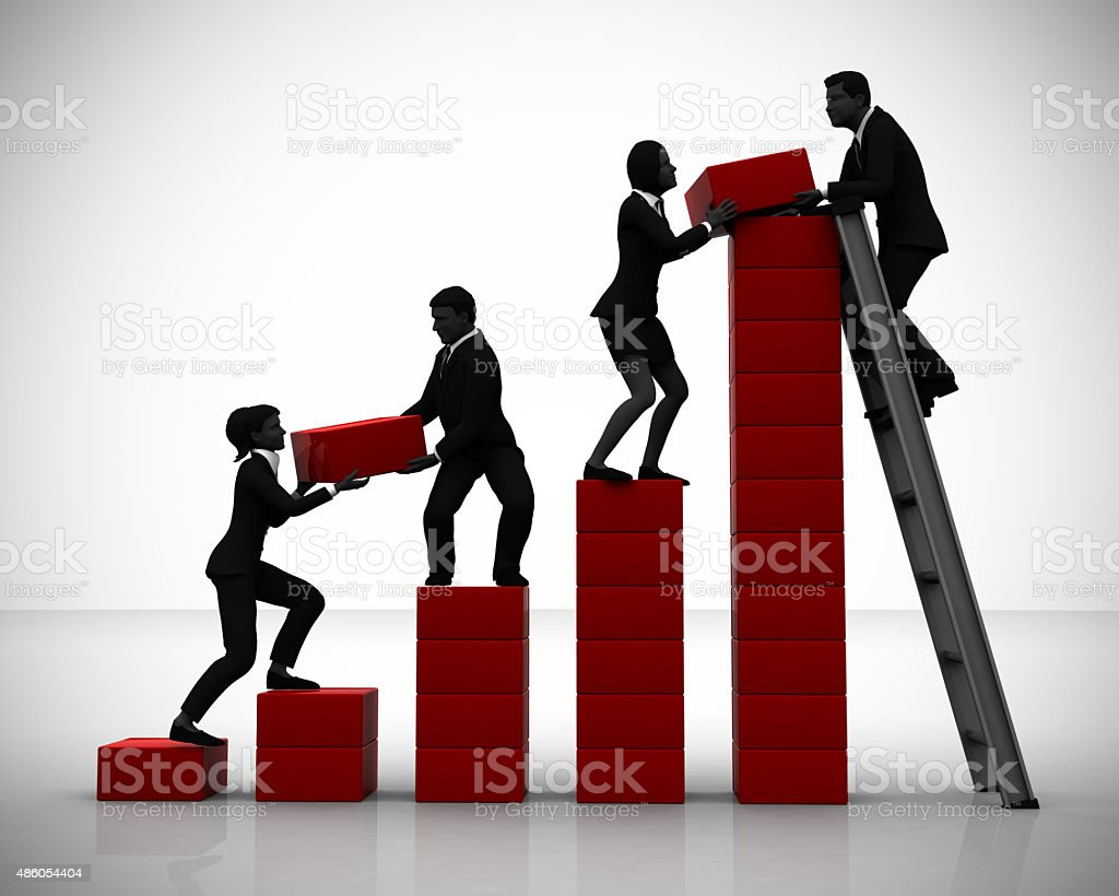 Teamwork of Executives working on a Bar Chart stock photo